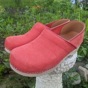 Women's Dansko Light Red Leather Clogs Size 11/41